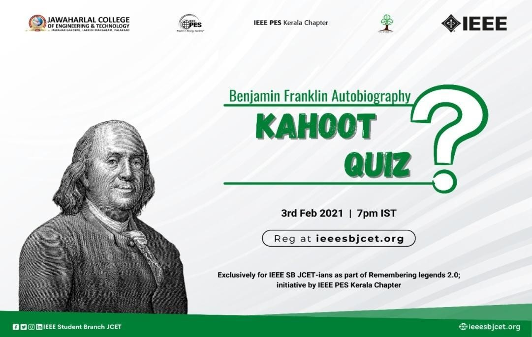 Read more about the article Remembering Legends 2.0:- Benjamin Franklin Autobiography Quiz